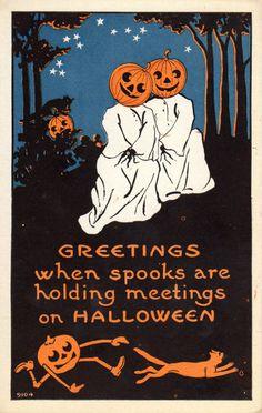 Vintage 1913 Halloween Postcard Jack O' Lanterns, Black Cats, Stars and Forest #Halloween