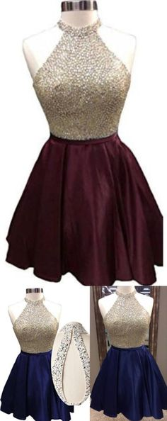 High Neck Homecoming Dresses Short, Sleeveless Burgundy Homecoming Dresses, Cheap Homecoming Dress Short/Mini Juniors Homecoming Dress with Beaded, Short Homecoming Dress, Blue Homecoming Dresses,Prom Dresses Short