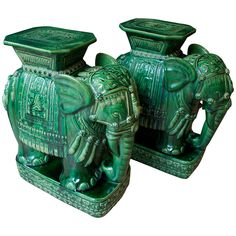 Pair of Mid-Century Elephant Emerald Green Glazed Ceramic Garden Stools | From a unique collection of antique and modern side tables at https://www.1stdibs.com/furniture/tables/side-tables/