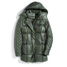 Stitch Fix Monthly Must-Haves: Brave the winter weather in a quilted puffer in a rich forest green hue.