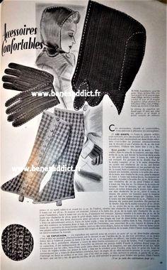 GRATUIT 34 patrons tricot/couture 1935/1939 Hommes, Femmes, Soldats! Vintage Diy, Vintage Sewing, Knitted Hats, Crochet Hats, Mode Crochet, Snood Scarf, Vintage Gloves, Vintage Patterns, Retro Fashion