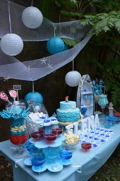 """We received this gorgeous party Submission from Bernadette from Sparklebox an """"Under the sea, Nautical theme"""" - Birthday for Elena Zoe. Dolphin Birthday Parties, Birthday Party Themes, 12th Birthday, Birthday Ideas, Little Mermaid Birthday, Little Mermaid Parties, Underwater Party, Candy Buffet Tables, Dessert Table"""