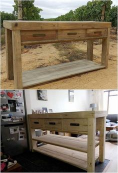 In a complete complimentary style this wood pallet table that has been purposely designed for your use. It is giant in size and so as heavy in weight, that is probably being settled with the portion of drawers in them. Wood pallet hues are shaded in complete textured work.