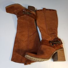 3a93bc8dbed Jessica Simpson Lanasi Brown Rust Suede Knee High Riding Boots Equestrian sz  8.5  JessicaSimpson