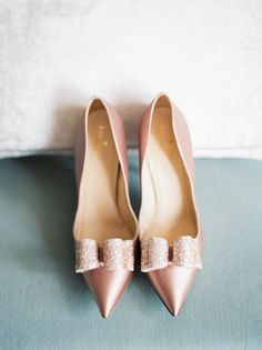 Blush Pink Wedding Shoes with Sparkly Bows Buy Shoes, Me Too Shoes, Pale Pink Weddings, Wedding Heels, Bow Wedding, Spring Wedding, Wedding Stuff, Kate Spade Pink, Beautiful Shoes