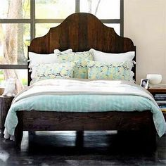 Nice combo: rustic headboard... blue/white/brown color scheme