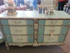 Amazing French Blue and Creamy Linen dresser with Farmhouse Paint.  www.Farmhousepaint.com
