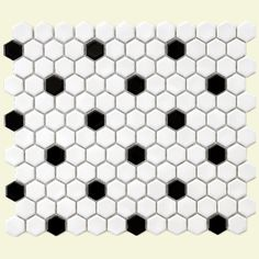 SomerTile 10.25x11.75-in Victorian Hex 1-in White/Black Dot Porcelain Mosaic Tile (Pack of 10) | Overstock™ Shopping - Big Discounts on Somertile Wall Tiles