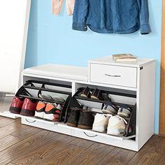 SoBuy Armario zapatero, Taburete, puff caja, banco, estantería para zapatos ,Chifonier, blanco, FSR17-W,ES