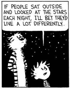 Calvin & Hobbes  If people sat outside and looked at the stars each night I'll bet they'd live a lot differently...