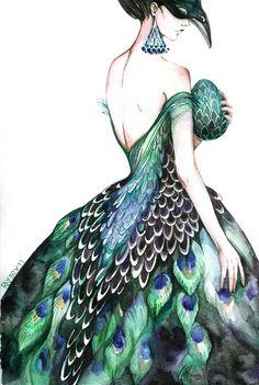 Dress Design Sketches, Fashion Design Sketchbook, Fashion Design Drawings, Fashion Sketches, Fashion Illustration Collage, Dress Illustration, Fashion Illustration Dresses, Peacock Art, Peacock Dress