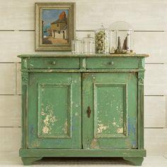 BUFFET. pea green over blue over cream. 99cm high 113cm wide 50cm deep. door locks.
