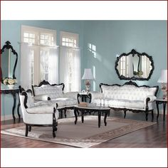 WHITE FABRIC FRENCH PROVINCIAL LIVING ROOM SET WITH WALNUT COLOR FRAME