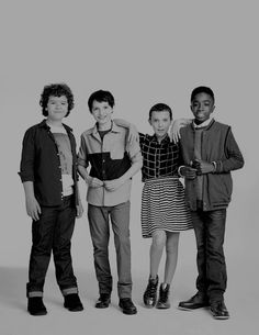 Millie Bobby Brown, Caleb McLaughlin, Finn Wolfhard, and Gaten Matarazzo photographed by James Dimmock (2016)