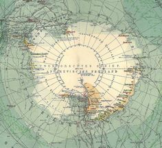 Antarctica Antique Map South Pole
