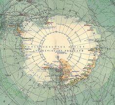 Antarctica Antique Map South Pole