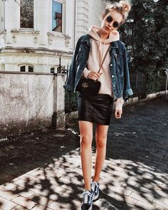 Euphoria_the instagram, wiwt, outfit inspo, daily outfit, instafashion, outfit off the day, scandinavian, ootd, streetstyle, Outfit Inspiration, trasher magazine, streetstyle paris, gucci bag, gucci marmont , jeansjacket, summer outfit, hoodie , casualoutfit, vans, vans oldskool, leather skirt