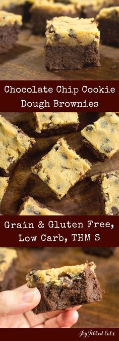 Chocolate Chip Cookie Dough Brownies - Low Carb, Grain Gluten Sugar Free, THM S     via @joyfilledeats