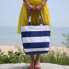 Provincetown Tote in Navy - You can add a three letter monogram if you want.