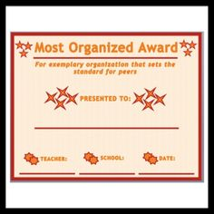 Most Organized Award // Part of Career and Superlative Awards for your Classroom // English Language, Language Arts, Formative And Summative Assessment, 7th Grade Ela, Student Awards, Middle School English, Future Career, End Of Year, Anchor Charts