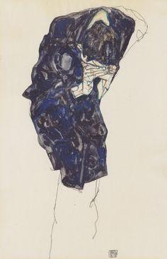 Egon Schiele - Man Bending Down Deeply (1914)