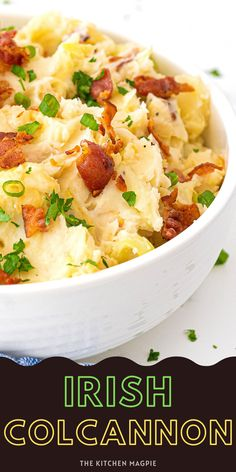 Colcannon, also known as Irish potatoes, are creamy, buttery mashed potatoes that are loaded with fried onions, cabbage, green onions, and bacon. Easy Holiday Recipes, Easy Appetizer Recipes, Irish Potatoes, Mashed Potatoes, Creamed Cabbage, Buttered Cabbage, Potato Side Dishes, Veggie Dishes, Potato Pasta