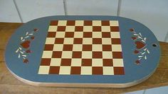 FOLK ART GAME BOARD Hand painted CHECKERS Americana Country Vintage Home Decor #Homemade