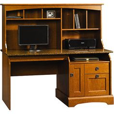 "Sauder Graham Hill Computer Desk with Hutch, Autumn Maple for 315  59 x 24.625 x 55.125""H"
