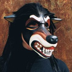 Black and Tan Paper Mache Wolf Mask Mask Wolf, Paper Mache Mask, Burning Man Outfits, Animal Masks, Venetian Masks, Paperclay, Diy Mask, Red Riding Hood, Little Red