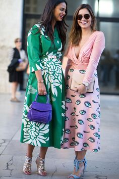 Love these ladies looks; so vibrant and fun! Paris Fashion Week Fall 2017 Street Style.