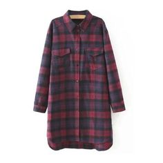 Plaid Shirt Dress With Pockets (140 RON) ❤ liked on Polyvore featuring dresses, purple dress, t-shirt dresses, tartan dress, plaid shirt dress and long shirt dress