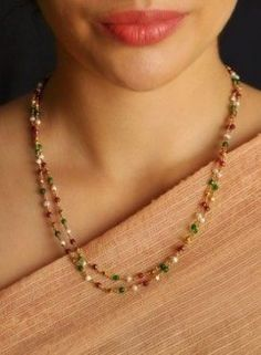9 Cheap And Easy Cool Tips: Jewelry Accessories Indian jewelry necklace crystal. Gold Chain Design, Gold Bangles Design, Gold Jewellery Design, Handmade Jewellery, Beaded Jewelry, Jewelry Necklaces, Beaded Necklace, Gold Necklace, Wooden Jewelry