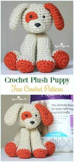 Crochet Plush Puppy Amigurumi Free Pattern - #Amigurumi Puppy #Dog Stuffed Toy Crochet Patterns