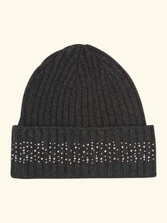 Chunky Hat with Crystal Detail in Dark Charcoal Grey - N.PEAL Luxury Cashmere