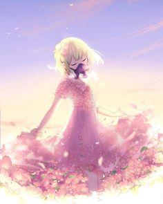 Artist: IIuluchwan Anime Girl Dress, Anime Art Girl, Manga Girl, Manga Anime, Anime Girls, Pretty Art, Cute Art, Anime Flower, Anime City
