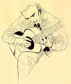 Guitarist, Illustration by David Stone Martin.