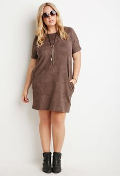 Suede dresses! It seems kinda funky but with the 70's trends hitting hard this fall these babies are everywhere! T-shirt length sleeves and tank dresses. Our customers havent asked about them yet at FC5 but when I sold them last yr at Altar'd we couldnt keep them! I liked this curvy model ;)