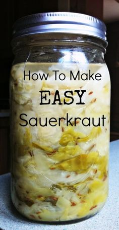 To Make Easy Sauerkraut Sauerkraut is a superfood because it contains beneficial probiotics that help boost your immune system and help digestion! Learn how to make this very simple recipe! Easy Sauerkraut Recipe, Homemade Sauerkraut, Fermented Sauerkraut, Canning Recipes, Paleo Recipes, Whole Food Recipes, Simple Recipes, Kombucha, Do It Yourself Food