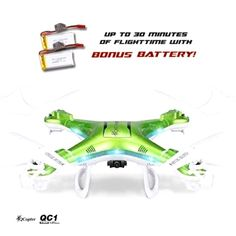 QCopter QC1 Quadcopter Drones with HD Camera LED Lights Green Drone *BONUS BATTE: Great Drone product with… #UKOnlineShopping #UKShopping