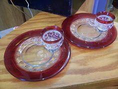 Set of 2X Vintage Tiffin Kings Crown Thumbprint Ruby Red Snack Plate Cup Set   eBay
