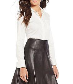ec9af4a5c1b9d6 Antonio Melani Nellie Collared Blouse Bodysuit Dillards, Leather Skirt,  Bodysuit Blouse, Casual,