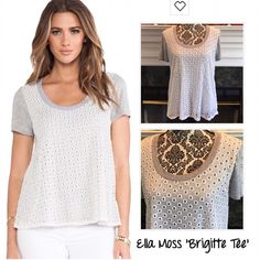SALE❗️🌟NWOT Ella Moss Grey & Cream Eyelet Top🌟 Brand NWOT, I removed tags before trying it on and taking it on a trip and sadly it doesn't fit, it's SO CUTE - my loss your gain! Original MSRP $138. The 'Brigitte Tee' in a heathered gray with a creamy white overlay of embroidered eyelet fabric. Manufacturer color: natural. Pullover style. Very soft and wearable, see pic 4 for fabric content. (YYY/DEOL) Ella Moss Tops