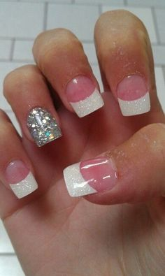 acrylic nails with silver accent (if the tips were hot pink they'd match my homecoming dress perfectly)!!!!!!
