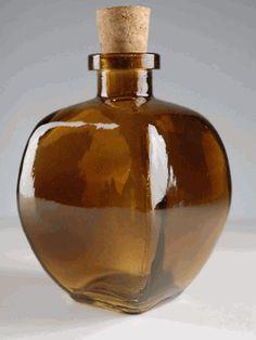 "Dark Amber Biarritz Cork Top 4.5"" Glass Bottle 9.3 oz."