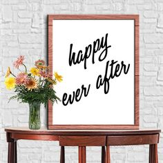 HAPPY EVER AFTER Print Home Decor Typography Poster Motivational Quote Digital Quote Print Digital Typography Art Wall Decor 8X10 11x14 by sweetdownload on Etsy