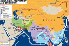 """The infrastructural net that increasingly links China to India, Russia and the Central Asian countries as a bridge for cooperation and a source of frictions: existing and planned pipelines, location of main oil fields, main and secondary ports, existing """"sea highways"""" and plans to bypass the Malacca straits bottleneck, distribution of US military bases in the Indian Ocean region. By Laura Canali for Heartland/Limes. #map #india #china #russia"""