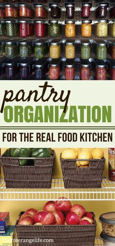 Pantry Storage Ideas: Get amazing ideas on organizing your pantry and storing food in your real food kitchen! #pantrystorageideas