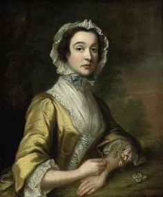 Portrait of a lady, half-length, in a lace trimmed yellow dress with a lace cap, a rose in her right hand, her left hand resting on a mossy bank, a landscape beyond by circle of Joseph Highmore (British). Christies Auction House.