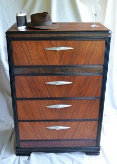 Refinished Art Deco dresser with chevron veneer, from Haus Artisans.