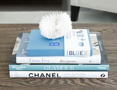 blue coffee table books; i think coral may need to stay at beach